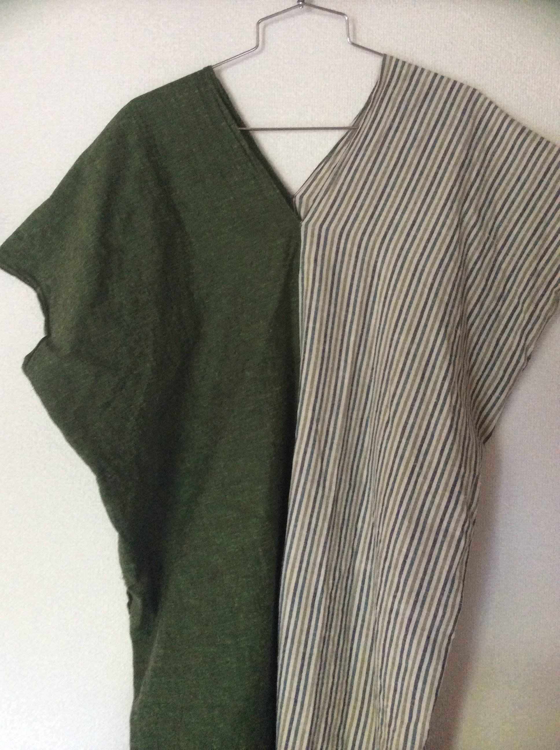 遠州綿紬の片身替り。240cm×2枚。身長156cmで膝下までの長さ。